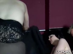Gorgeous brunettes get their mouths and cunts smashed