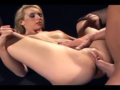 Petite blonde sex in thigh high fishnet stockings