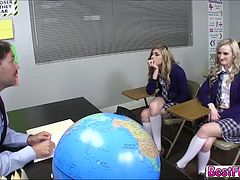 Super cute teens in a Sex education room