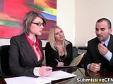 Gorgeous blonde and brunette babes get horny in the office by SubmissiveCFNM