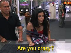 Cuban chick sells her TV sells her pussy at the pawnshop