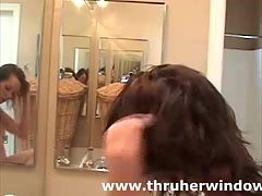 Amateur babe solo in bathroom for voyeur