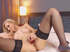 Beautiful blonde with fake tits hard fuck toys online webcam