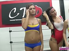 Horny Girls gets fucked in the room by the hot guys they meet on the dance studio