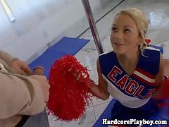 Cheerleader enjoys a naughty workout by her trainer