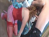 Redhead Audrey has sex in red seamed stockings