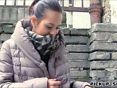 Real amateur Czech slut Emily flashes her tits for cash