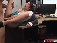 Hot and nasty Brunette MILF gets her pussy punished by shop owners big cock