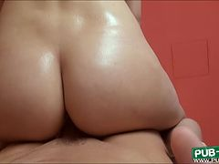 Karol Lilien flashes big boobs and fucked with extra creampie