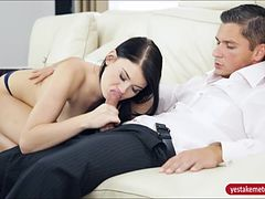 Sultry black raven haired babe Lucy Li nailed on the couch