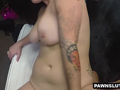 Two hot babes getting fucked in back of a pawn shop